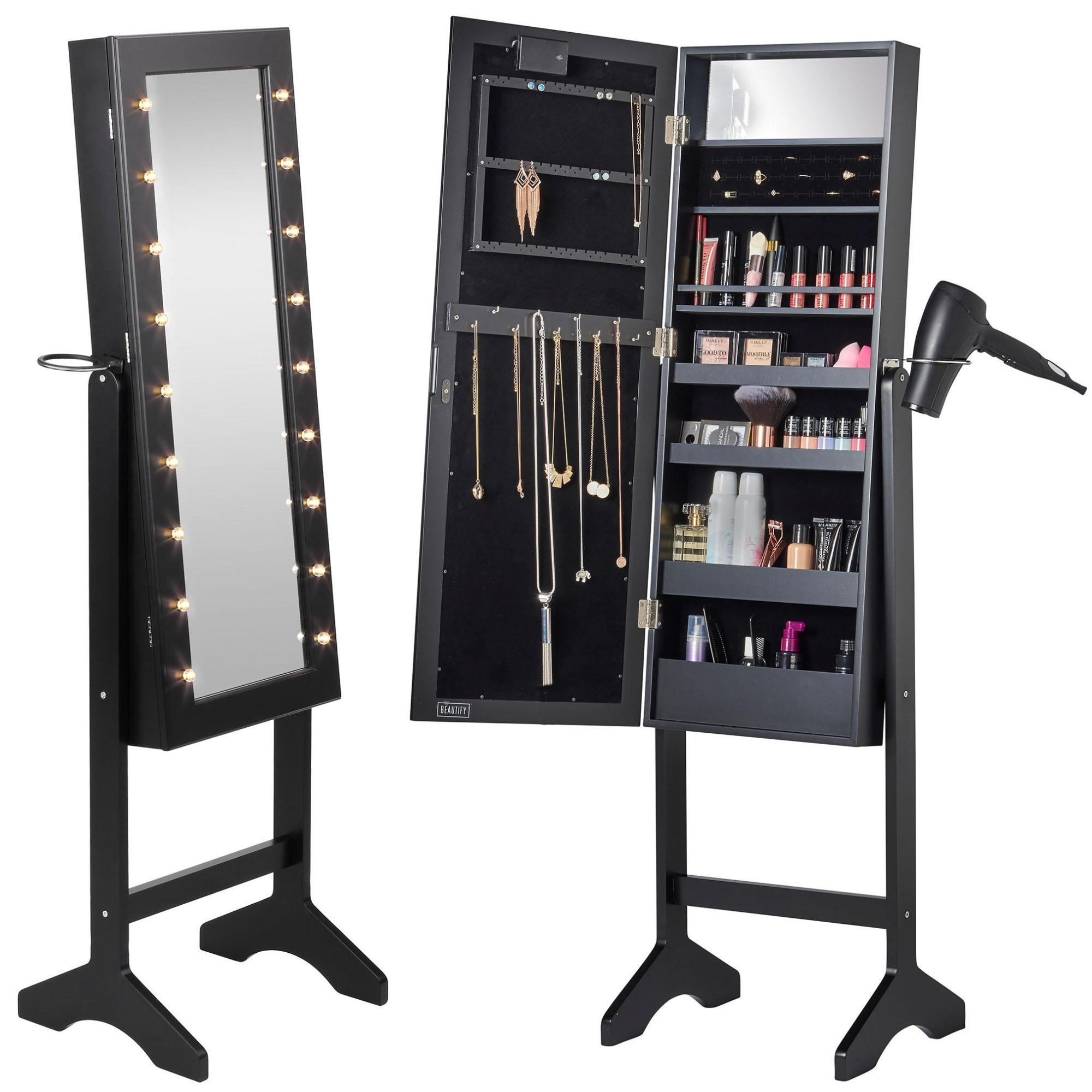 Beautify black floor standing make up jewellery organiser for Floor standing mirrored bathroom cabinet