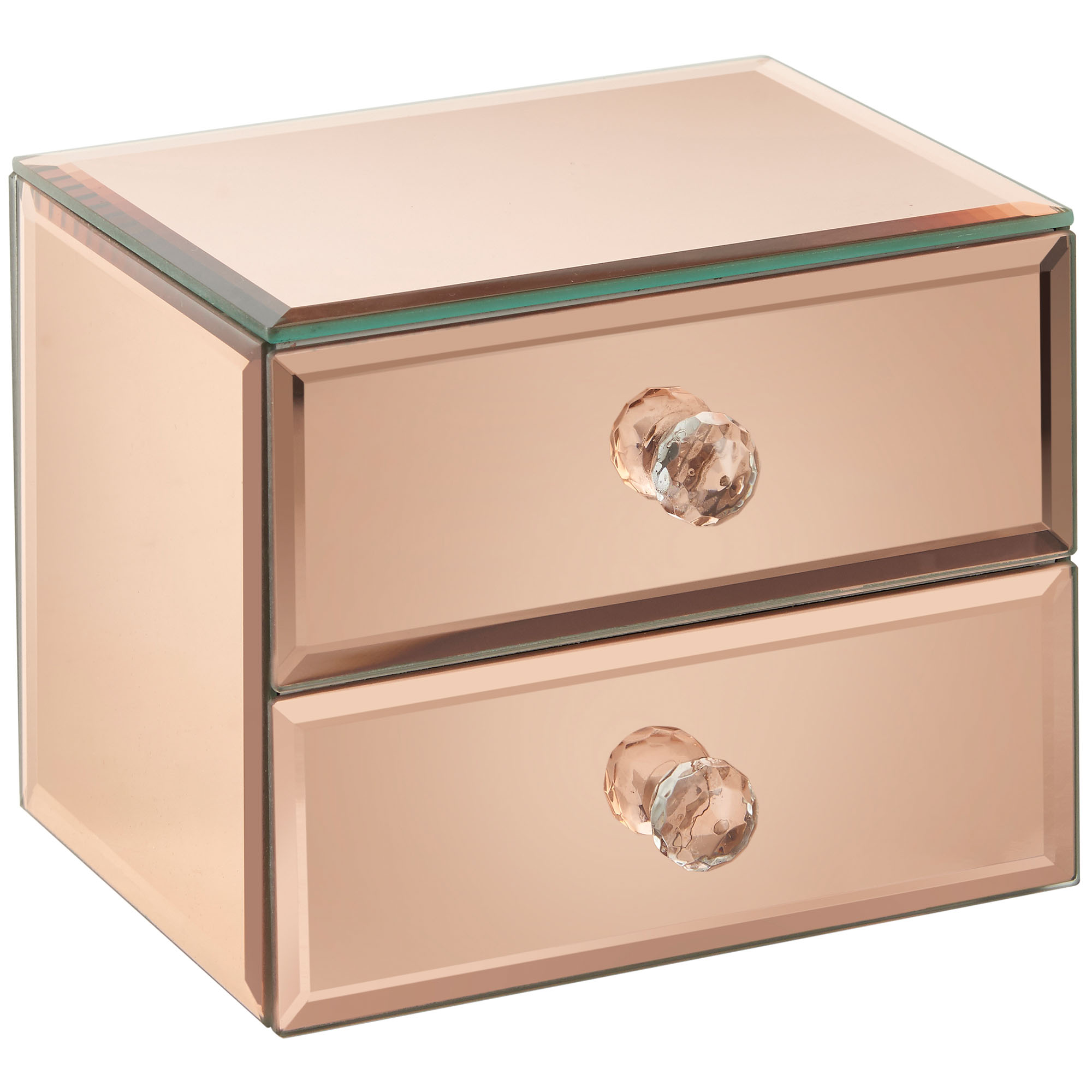 Beautify 2 drawer rose gold mirrored glass jewellery box for Mirror jewellery box