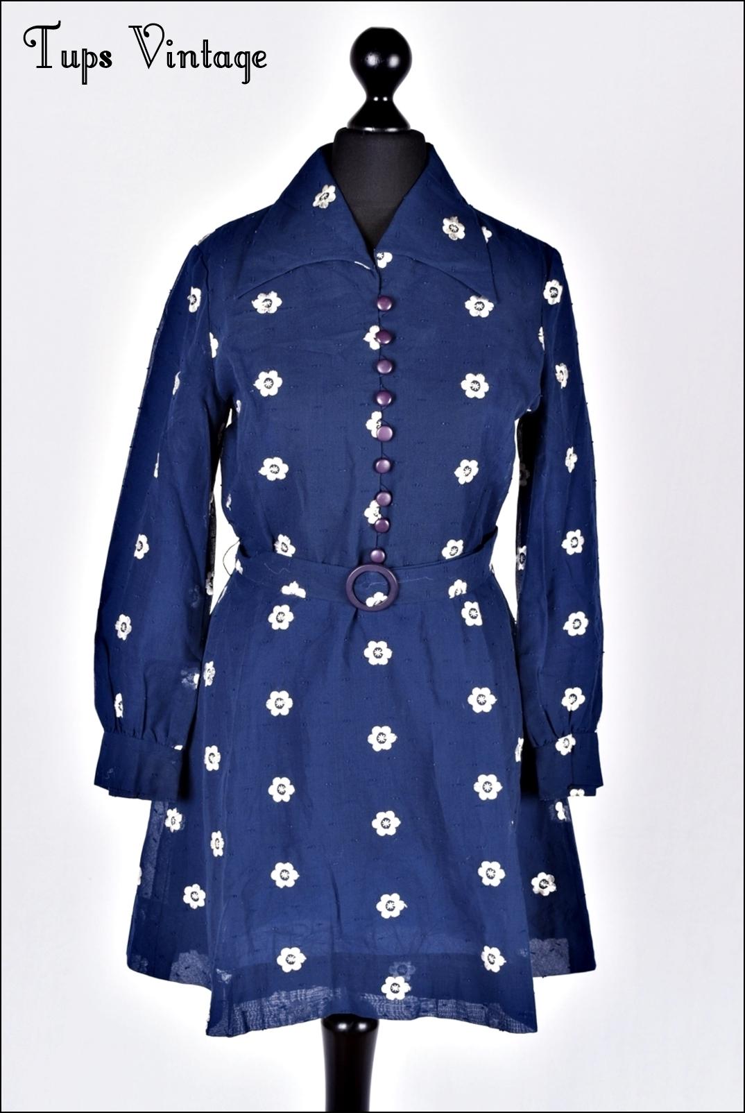 Vintage s navy blue embroidered mini mod dress belted