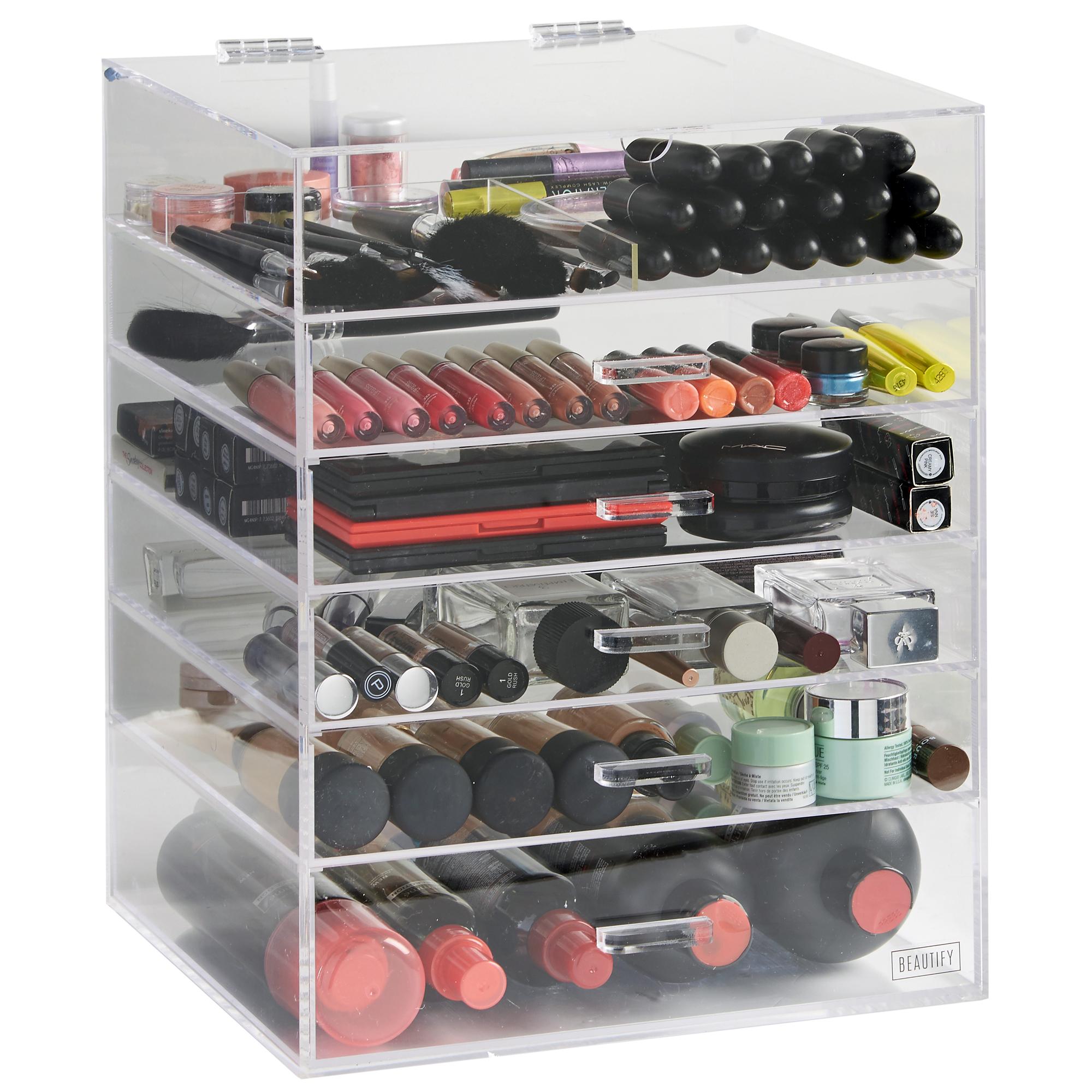 Beautify Large Clear Acrylic Cosmetic Makeup Jewelry Storage Cube Organizer  Case. Acrylic Makeup Organizer   eBay