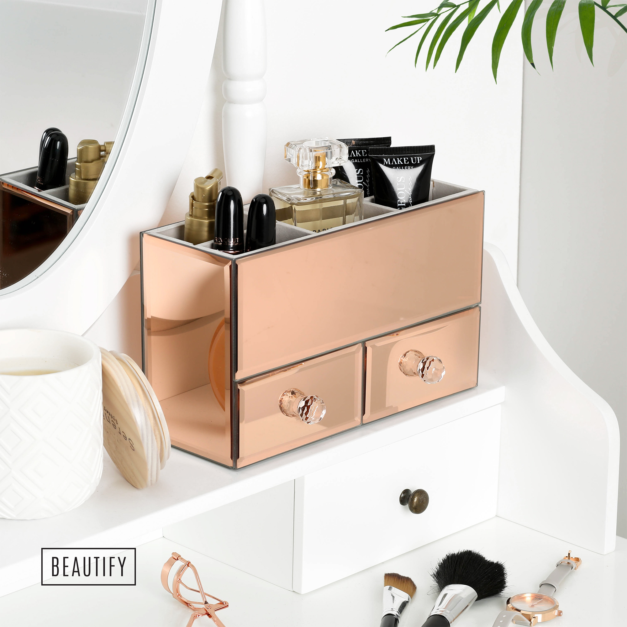 White Makeup Organizer Beautify Small Rose Gold Glass Jewelry Box Cosmetic Makeup