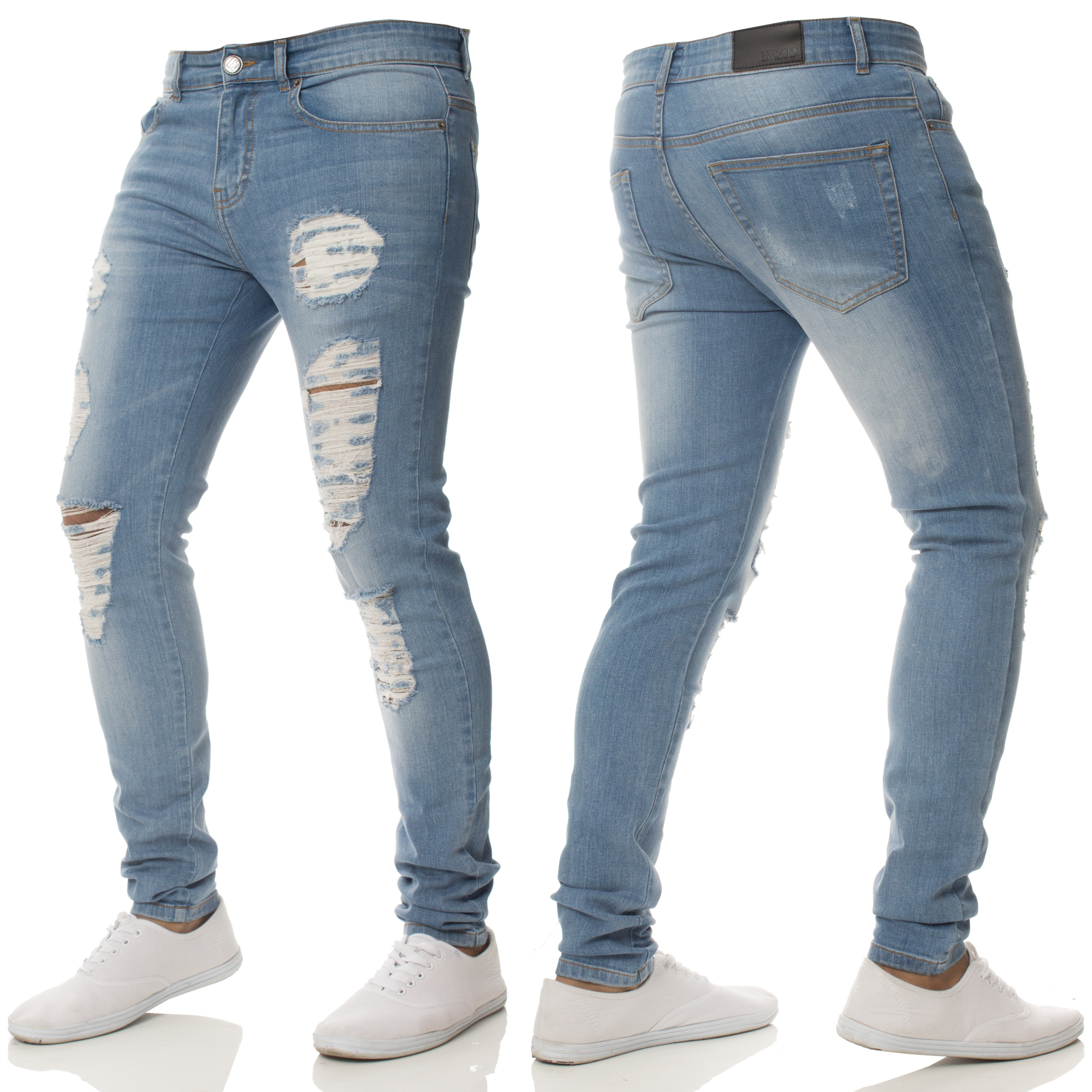 New ENZO Mens Super Skinny Stretch Jeans Knee Ripped Distressed ...